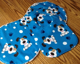 Burp Cloth and Bib Set for Baby Boy, Triple Layer Bib, Chenille Back Burp Cloth