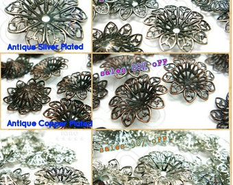K129 / 20 Pc / 30Pc / Dia. 19 x 4 mm - Floral Filigree Base Setting / Capping Findings