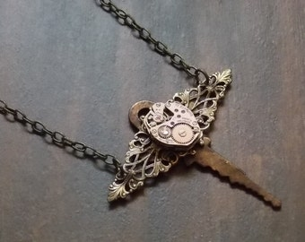 Key Necklace Steampunk Jewelry Clockworks Vintage Watch Movement Dragonfly Pendant