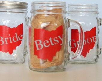 Personalized Ohio State Buckeye Mason Jar Mug