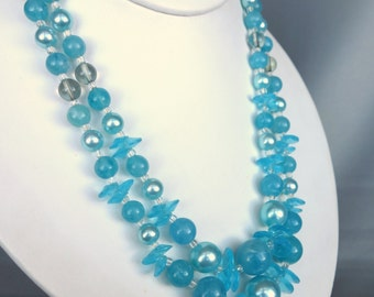 Vintage turquoise blue plastic beaded double strand necklace