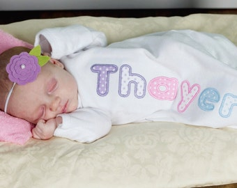 Girls Personalized Applique Newborn Layette Gown, Newborn Gown, Infant Layette Gown, Infant Gown, Baby Shower Gift, Take Home Outfit