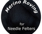 "Merino Roving 16"" BLACK Perfect for Needle Felting, Doll Hair, Animal Fur"