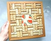 Wine Cork Trivet with Watermelon Painted Tile in Handmade Wood Frame