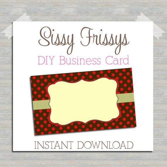 INSTANT DOWNLOAD DIY Business Card Digital File Blank
