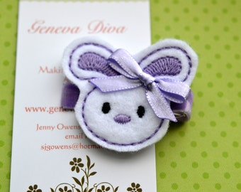 Lavender Little Easter Bunny Felt Hairclip