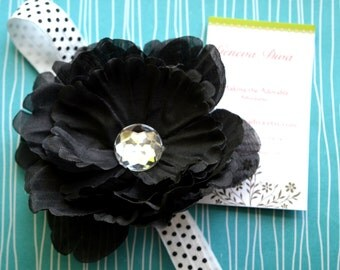 Black Peony Flower Clip and Black and White Polka Dot FOE Headband