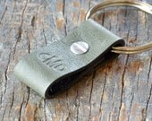 Monogrammed Halftone-Green and Burgundy Leather Keychain - Short & Wide Style