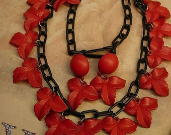 Vintage Red Necklace Celluloid Funeral Flower earrings gothic