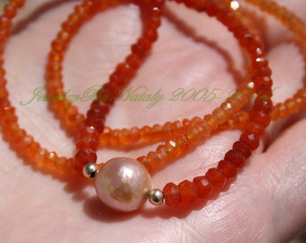 Large Peach Golden Rainbow Luster Wrinkle Nucleated Kasumi Like Fresh Water Pearl Faceted Shaded Carnelian Layering Necklace