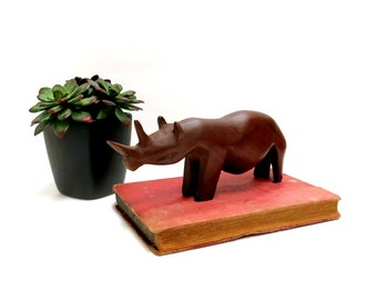 Hand Carved Rhino Figure Vintage Hard Wood Figurine 1980s