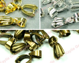 10pc Quality Brass Pinch bails Pendant Clasps 15mm Silver, Gold, Antique Brass Plated