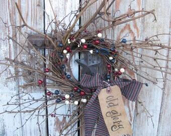 Americana Twiggy Pip Berry and Grapevine Hand Made Primitive Wreath GCC2400