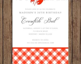 Custom Printed Crawfish Boil Invitations - 1.00 each with envelope