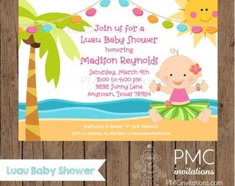 Custom Printed Boy or Girl Luau Baby Shower Invitations - 1.00 each with envelope