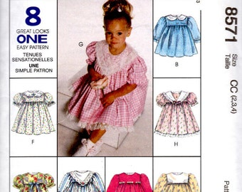 McCalls 8571 Sewing Pattern Toddler Dress Sizes 2, 3, 4 Easy