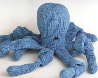 "Deep Blue Octopus - Organic Cotton Hand Knit Large Eco Friendly Stuffed Animal - Toy Cephalopod, 21"" long"