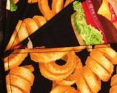 Quilted Coasters - Burgers and Fries (set of 4)