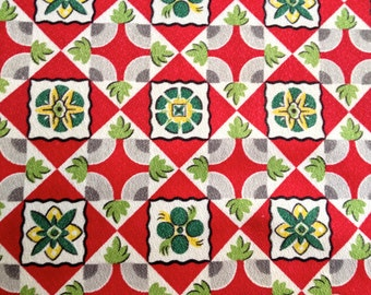 Early 20th Century Geometric Design Barkcloth// Pre WWII Decorator/Drapery Fabric// Cotton Yardage//Upholstery Weight