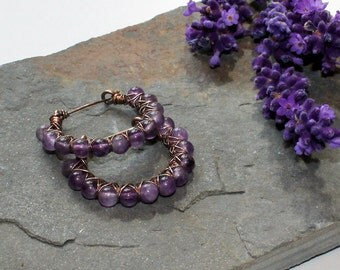 Kiss Kross Hoop Earrings - Bronze wire and Amethyst hoop earrings
