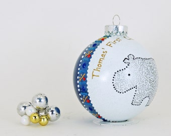 Baby's First Christmas - Personalized custom hand painted glass ornament  - Adorable hippo