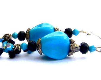 Retro turquoise blue earrings, turquoise and black statement earrings, crystal and lucite