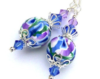Blue and lavender earrings, purple and sapphire polymer clay with Swarovski crystal elements