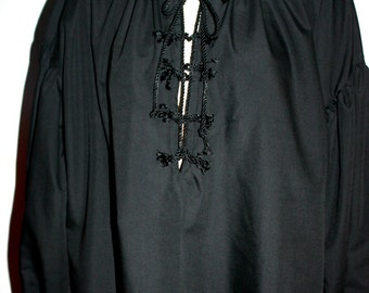 Pirate rope shirt, jet black, custom made to order, Renaissance, sizes from small to 5x