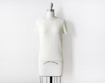 white short sleeve sweater, 80s white knit blouse, vintage white pointelle sweater