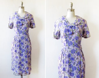 50s floral dress, vintage 1950s purple floral cocktail dress, silk floral garden party dress, medium m