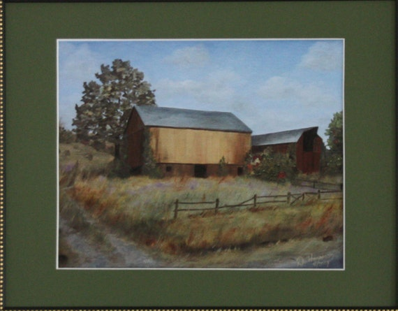 8 X 10 inch realistic reproduction of my original oil landscape painting of a new barn is matted to called Yellow Barn