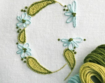 Crewel Embroidery Pattern DIY Pattern pdf Monogram G is for Garden instant download  flower embroidery kit