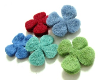 Felt Shamrock - 5 Pure Wool Handmade Embellishments 30mm - Four Leaf Clover Mixed Colors