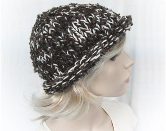 DIY Easy Knitting Pattern - Roll Brim Bulky Hat tutorial PDF e pattern for women