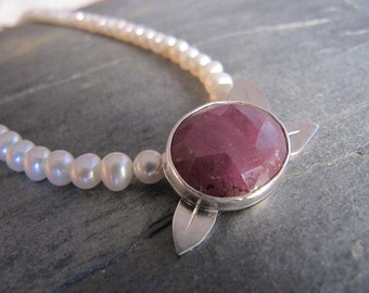 Ruby and Pearl Necklace with Leaves in Sterling Silver