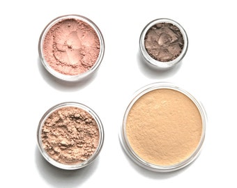 Mineral Makeup Starter Set - Choose your own shades // Foundation, Sheer Powder, Blush, Eyeshadow //