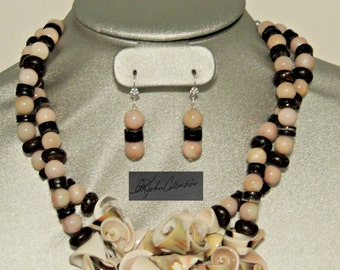 Ethnic Tropical Pink & Chocolate Conk Shell, Coral Shell, and Heishe Beads Necklace / Earring Set Free Shipping within US