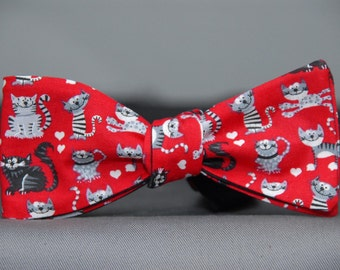 Kitty Cats on Red  Bow tie