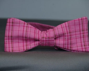 Tight Pink & Brown Plaid  Bow Tie