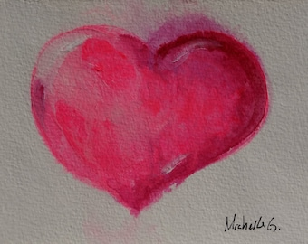 Pink Heart  on White Background, Love Themed Original Fine Art Painting