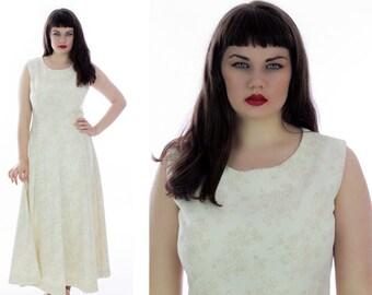 70s Maxi Dress Vintage 1960s Mod Cream Floral Hostess Empire Waist Maxi Cocktail Party Dance Large L XLarge XL