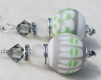 STORMY-Handmade Lampwork and Sterling Silver Earrings