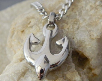 Rounded Anchor Stainless Steel Necklace