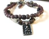 Buddha Bracelet, Yoga Jewelry, Purple Bracelet, Om Charm