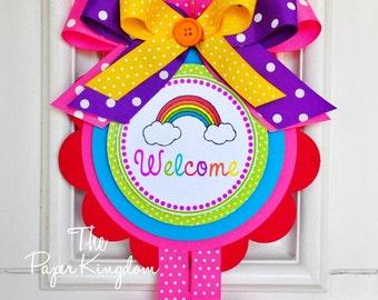 Rainbow Door Sign, Rainbow Birthday Party, XL Over The Rainbow Door Hanger