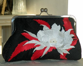 Embroidered Clutch/Purse/Bag..Exotic Chrysanthemum and Ruby Red Feathers/Black Silk Kimono..Long Island Bridal Handmade Gifts..Free Monogram