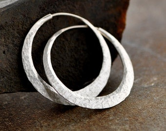 sterling silver hoop earrings with raw silk texture, medium endless hoops, eco friendly, wide, thick, self locking handcrafted hoops