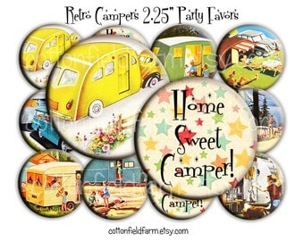 Retro Campers Pin Back Buttons, Mirrors, Magnets or Key Chains for Party favors, Weddings, Showers, Retro Parties