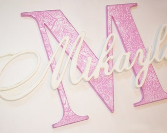 Shabby Chic Damask Monogram Initial Wooden Letters