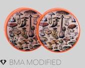 "7/8"" (22mm) Vintage Book of Mushrooms BMA Power Plugs Pair"